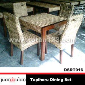 Tapiheru Dining Set Meja Makan Rotan Alami DSRT016