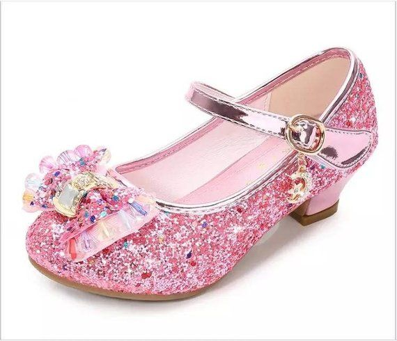Bling Pink Glitter Flower Girls Wedding Maryjane Heel Shoes Etsy In 2021 Kids Dress Shoes Princess Shoes Flower Girl Shoes