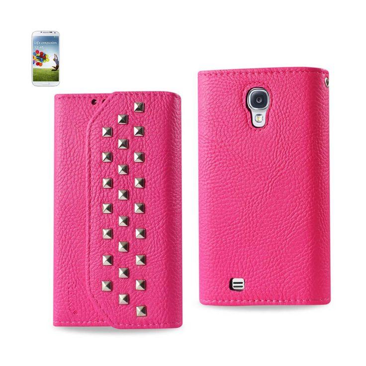 Reiko Samsung Galaxy S4 Studs Wallet Case Hot Pink | MaxStrata