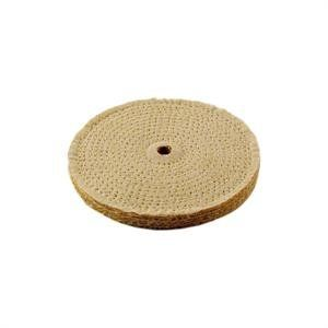"""6 Sisal Buffing Wheel, 6 x 11 Ply (5/8 thick) x 1/2 Hole. 6"""" diameter. Enkay's Sisal Buffing Wheels are made up of 11 plys (5/8 thick) of stiff sisal fibers, closely stitched for an aggressive cutting action. 1/2"""" Hole. Unmounted Spiral Sewn Buffing Wheels should not exceed 3,600 RPM. Enkay's sisal buffs are generally used on hard metals like stainless steel and iron to remove scratches up to 400 grit. All Enkay Buffing Wheels must be used with polishing compound."""
