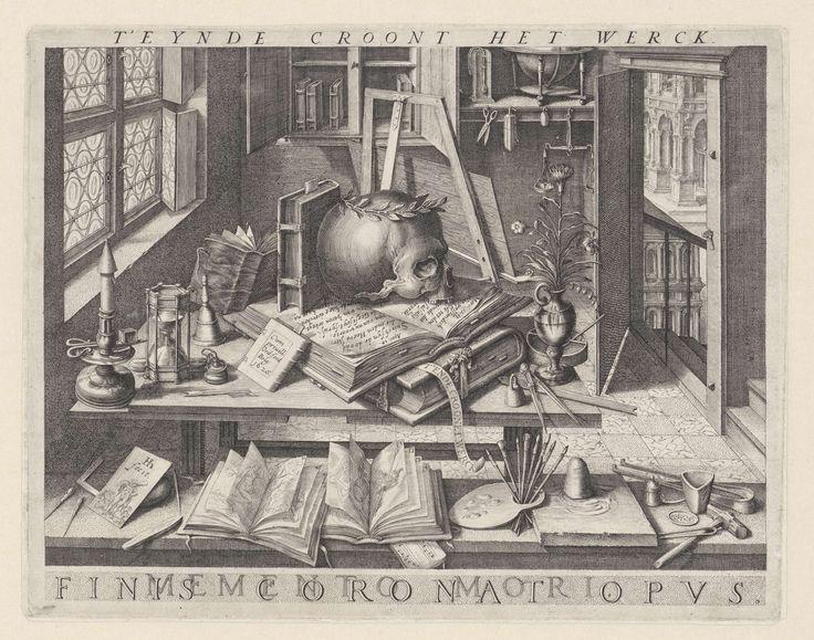 Vanitasstilleven met een schedel met lauwerkrans, Hendrick Hondius (I), Republiek der Zeven Verenigde Nederlanden, 1626