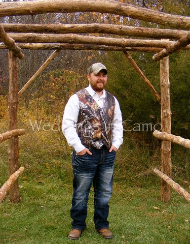 Basic 4 button mens CAMO vest for your wedding party. $89.99 with sizes from infant to 5XL---group pricing available. www.weddingsincamo.com