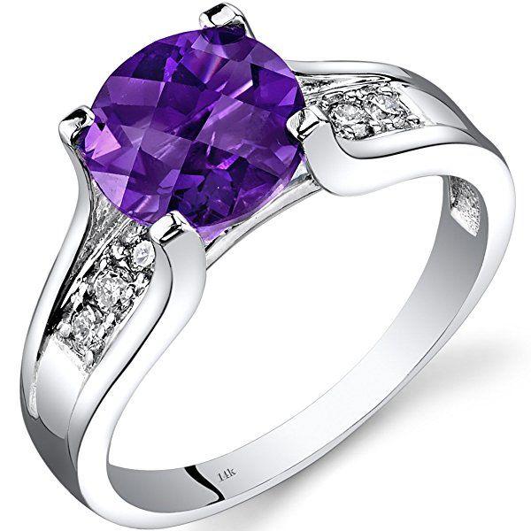 14K White Gold Amethyst Diamond Cathedral Ring 1.75 Carat