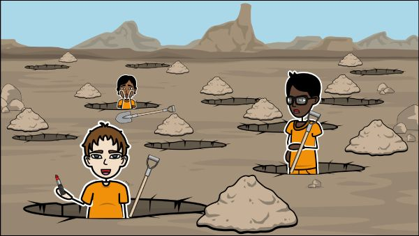 Follow the exciting story of Stanley Yelnats in Holes by Louis Sachar. Storyboard examples from the Holes book include Holes summary and Holes characters!