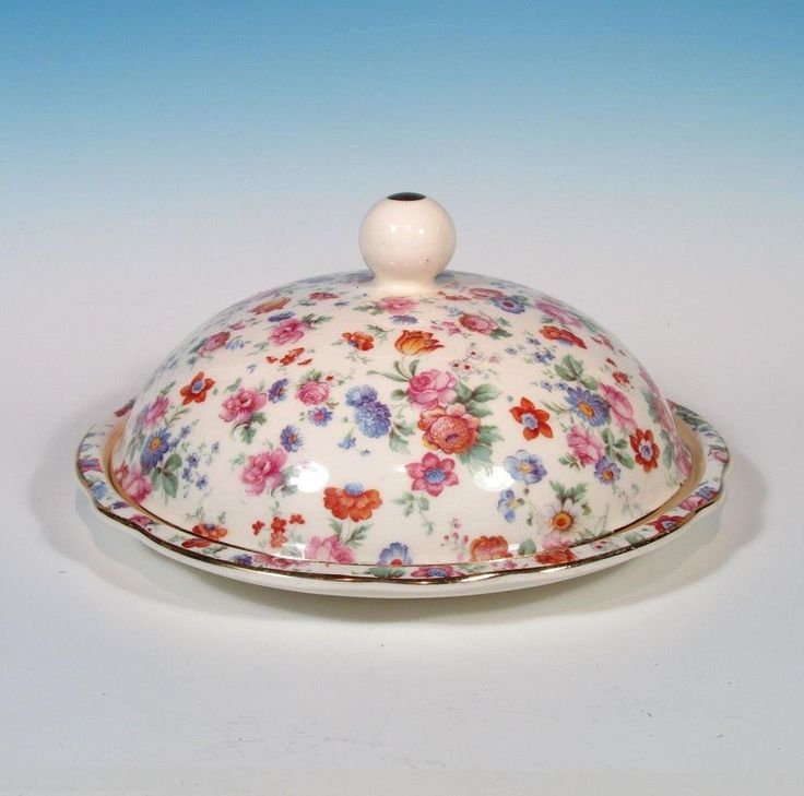 Erphilia Germany Dorset Cheery Chintz Vintage 1930s  Round Covered Butter RARE