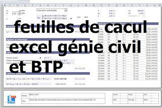 +170 feuilles de cacul excel pour génie civil et BTP