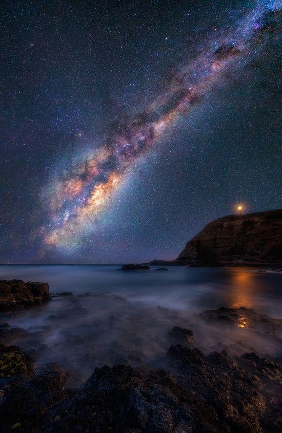 Night, lighthouse, ocean, milkyway...