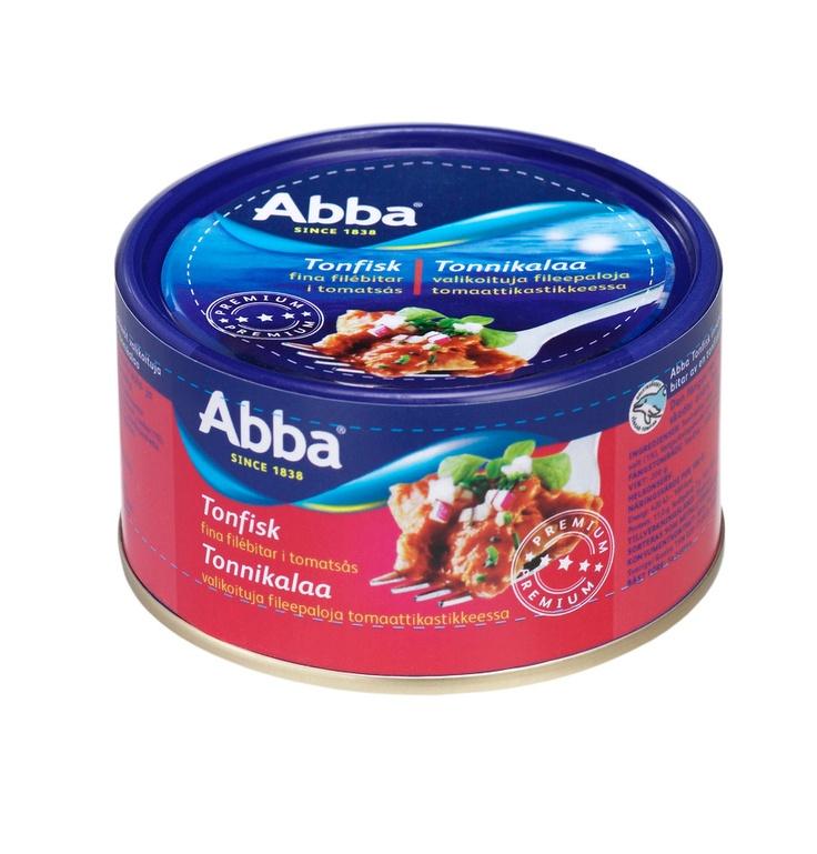 tonnikala tomaattikastikkeessa.  saa olla muutakin,kuin abbaa.  Tavallinen tonnikala käy myäskin. ja se sipuliton versio siiis