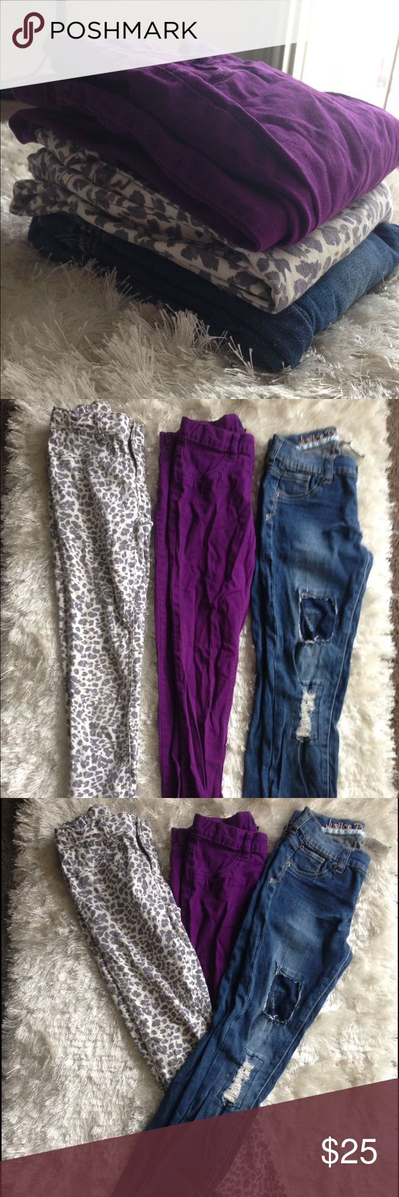 3 Pair of Pants (Girls) Gently worn•Variety bottom lot for girls size 12• (1) CP-Leopard Print Skinny-Gray/White (2)CP Purple Skinny Pant (3) Justice ripped jeans- I brought the pants with the patch as is, with intentions on fixing, my daughter couldn't fit them so I was stuck with them... a simple needle and thread job. (shown in photo) SOLD AS LOT• WILL NOT SELL SEPARATE• FREE MYSTERY ITEM WITH PURCHASE. Children's Place Bottoms Jeans
