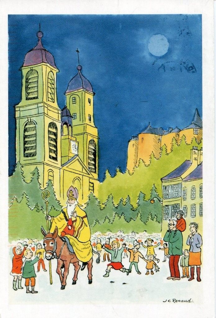 Carte postale illustrée, saint Nicolas à Sedan (France)