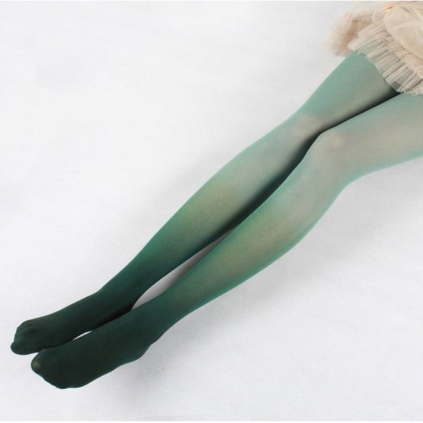 Hand-dyed Ombré Tights in Green ($23) ❤ liked on Polyvore featuring intimates, hosiery, tights, gradient tights, green tights, green hosiery, ombre tights and green pantyhose