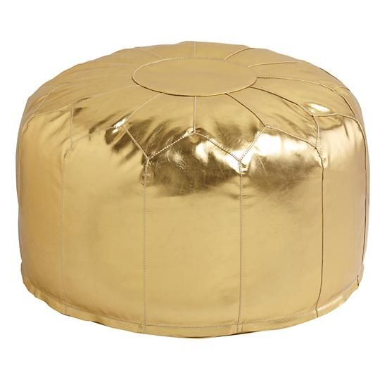 Faux Leather Pouf (Gold)  | The Land of Nod