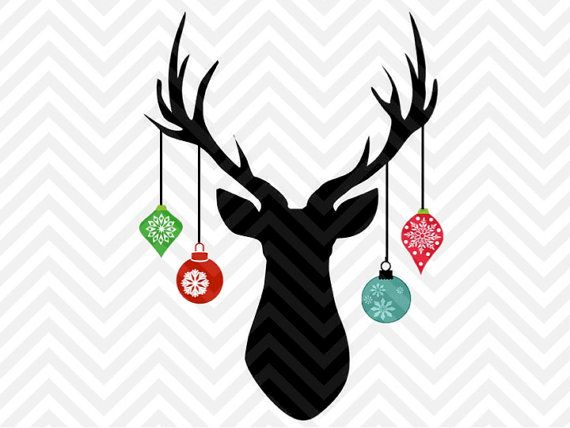 Christmas Deer Antler Hanging Ornaments santa christmas tree rustic farmhouse printable SVG file - Cut File - Cricut projects - cricut ideas - cricut explore - silhouette cameo projects - Silhouette projects by KristinAmandaDesigns