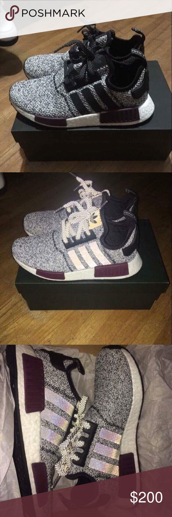 NMD adidas shoes •Women •Size 6.5 •Runs big •Only worn twice •They were 95$ when first came out but now they are 250$ on flight club      *Good Deal*  (SERIOUS BUYERS ONLY) Adidas Shoes Sneakers