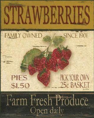 Vintage Sign - strawberries