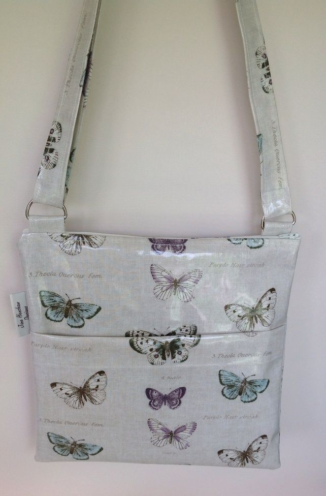 Vintage butterfly Oilcloth Lined Messenger Bag cross body bag £17.99