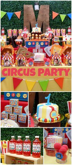 A circus party in bright colors for a boy birthday with amazing party decorations! See more party planning ideas at CatchMyParty.com!