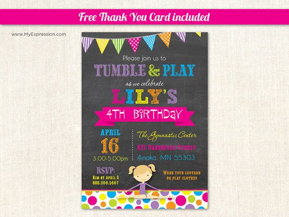 7 best girl birthday invitations images on pinterest girl birthday gymnastics girl chalkboard birthday party invitations by myexpressioninvites 1500 filmwisefo