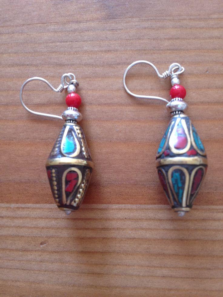 Tibetan Single Drop Bead Earring