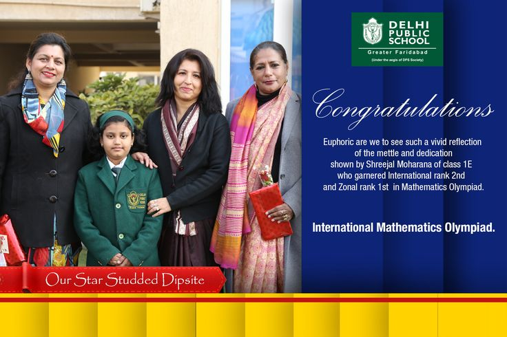 CONGRATULATIONS!!! A BIG CHEER TO DPS GREATER FARIDABAD! It's time to celebrate the amazing achievement by  Shreejal Moharana of class 1E  who made her parents and school proud by garnering  International rank 2nd  and Zonal rank 1st   in Mathematics Olympiad. She will be awarded a gold medal for securing 1st zonal rank and silver medal for 2nd International rank. Other exemplary result in Science Olympiad for which she will be awarded one more gold medal for excellence. FANTASTIC…