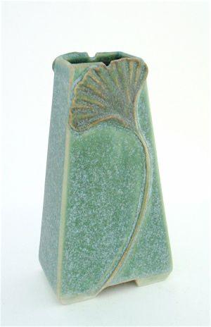"""6""""Ginkgo Vase - Janice McDuffie Roycroft Pottery, NY"""