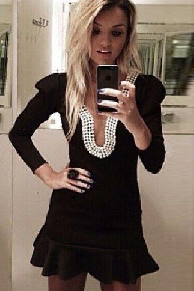 2014 new Fabulous Deep V Pearl Neckline Black Skater Dress|gedengni.com