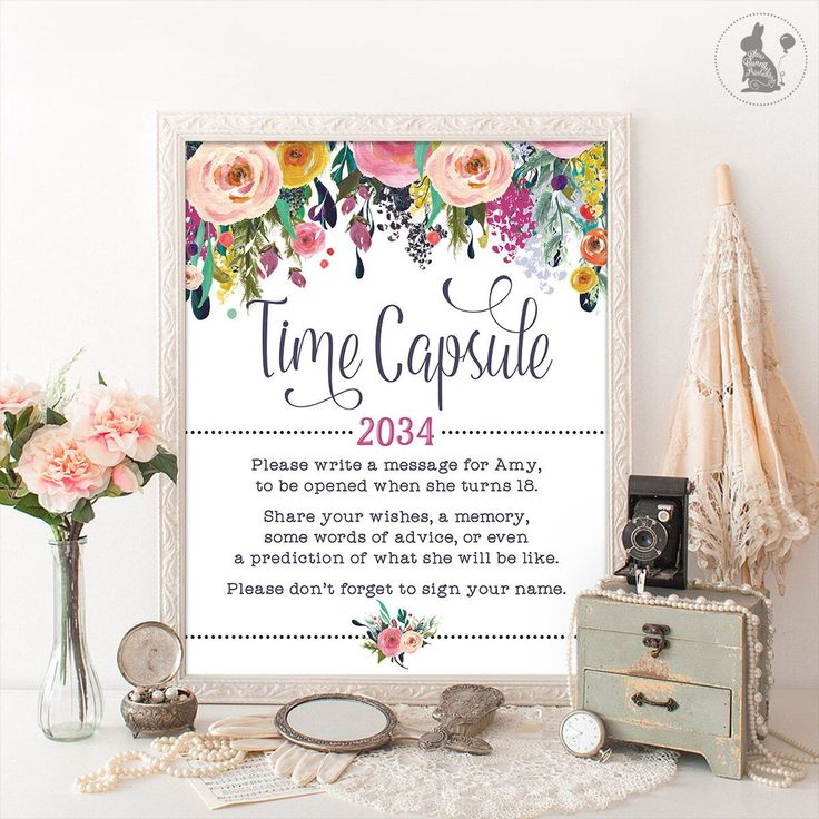 TIME CAPSULE Floral Baby Shower Table Sign Decoration. Girls First Birthday Decor. Cottage Chic Garden Baby Shower Digital Printable. SUB1-2 by BlueBunnyPrintables on Etsy https://www.etsy.com/listing/483070788/time-capsule-floral-baby-shower-table