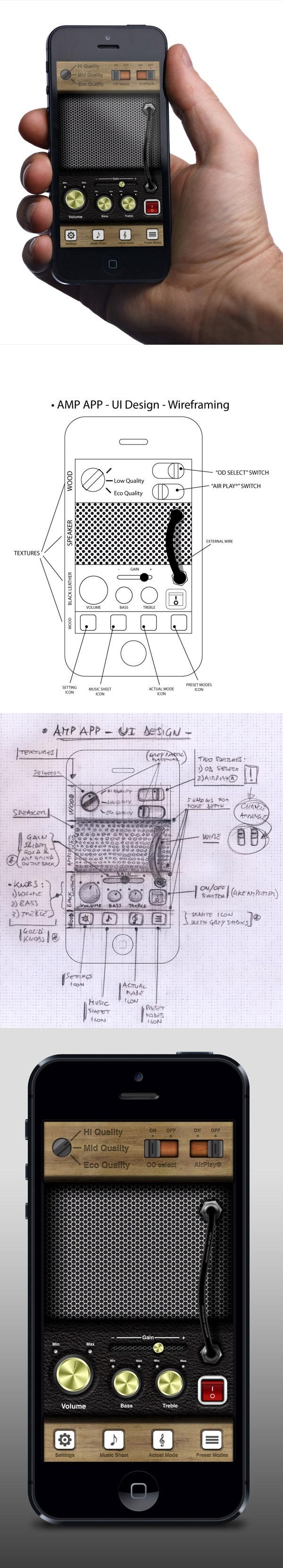 • iPhone UI Case Study - Amplifier App • by Tobia Crivellari, via Behance