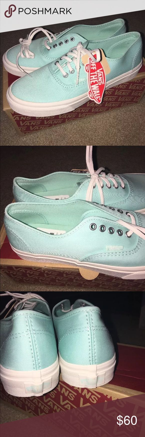 BNIB Vans Tiffany Blue Shoes women's size 9 Gorgeous Tiffany blue Vans in a women's size 9, men's size 7.5. Brand new in box, I never wore them. Can do $50 + ship on 🅿️🅿️, what I paid. Vans Shoes Athletic Shoes