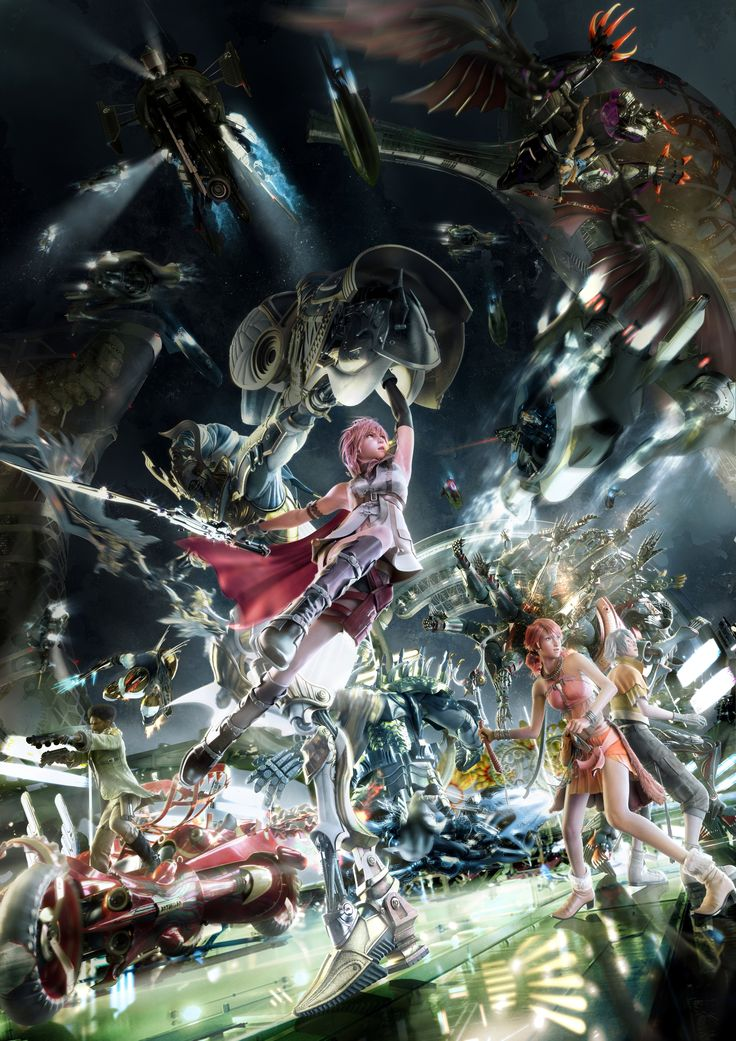 Promotional artwork of the characters and their Eidolons for The Final Fantasy XIII - http://finalfantasy.wikia.com/wiki/Eidolon_(Final_Fantasy_XIII)?file=FFXIII_art.0314.jpg