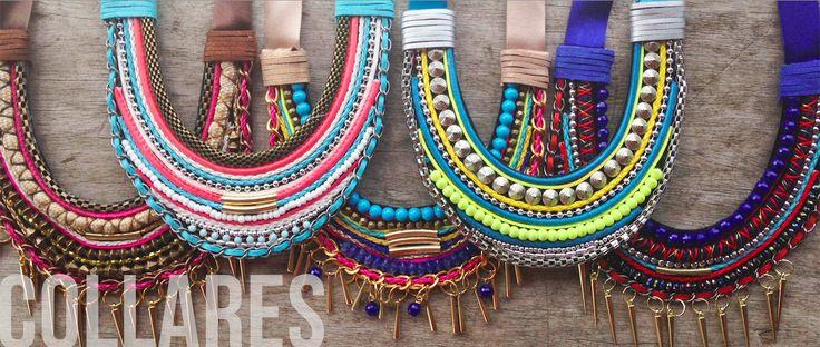 Collares en diferentes tecnicas con gran variedad de color y materiales! #collares #collarecintas #collaresmatilda #matildaaccesorios #matilda #designmatilda #matildadesign #accesoriosmedellin #accesorioscolombia #disenocolombiano