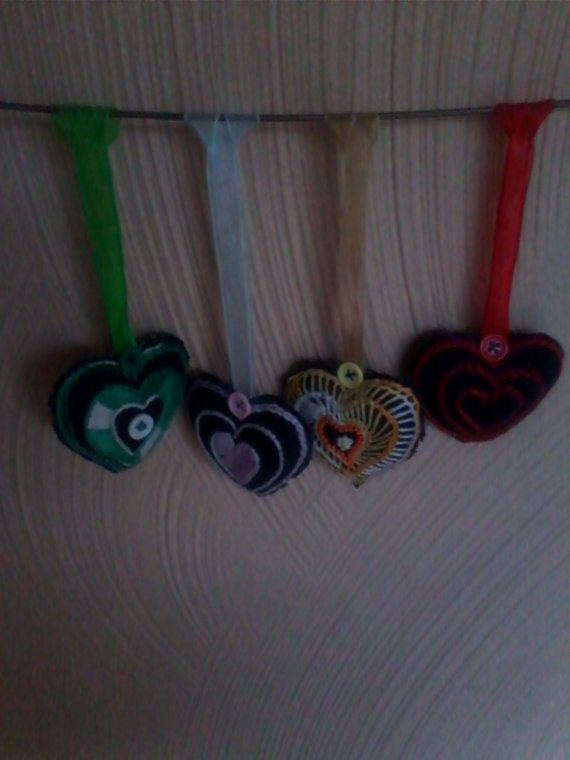 Set of 4 Heart Shaped Hanging Ornaments Hand by HeartWarmingCraft