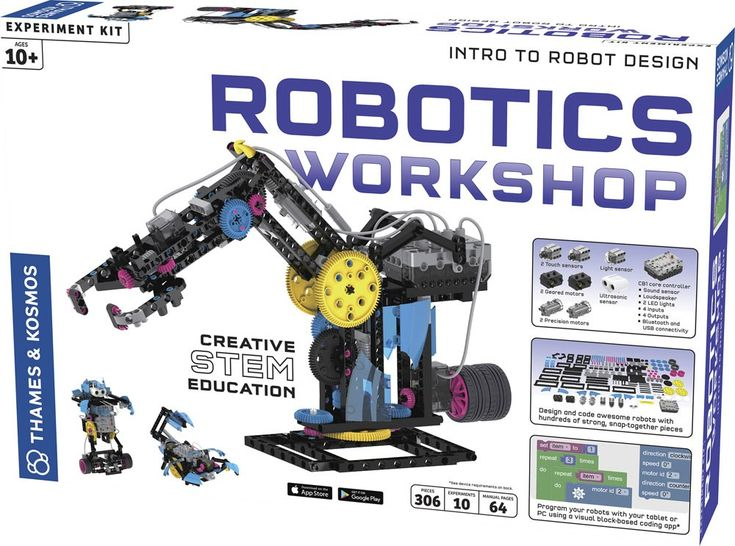 Design your own programmable robots with this creative STEM educational Robotics Workshop by Thames & Kosmos. Manufactured by Thames & Kosmos.