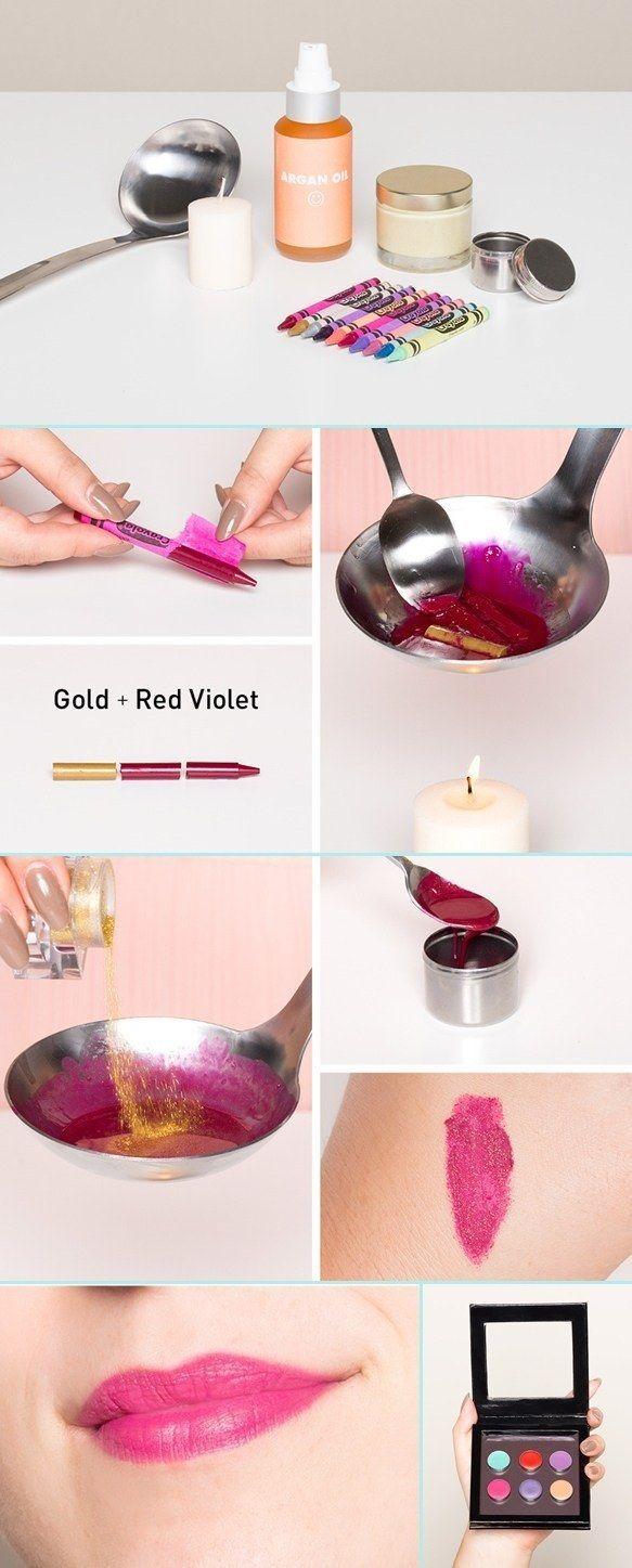 Lleva el color de lipstick que quieras con tan sólo una caja de Crayolas. | 12 Productos de belleza que puedes hacer en casa sin problema