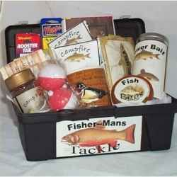 Fisherman's Basket - In a tackle box - Article has several other auction basket ideas