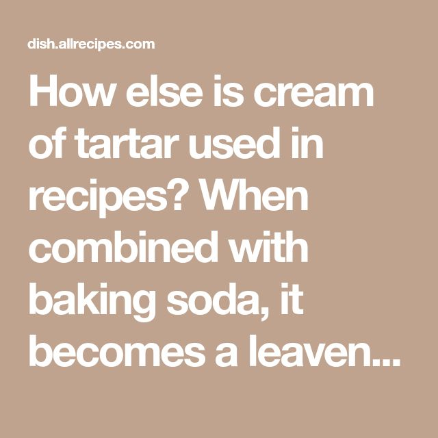 How else is cream of tartar used in recipes? When combined with baking soda, it becomesa leavening agent (the stuff that makes baked goods puff up in the oven) by producing carbon dioxide gas. If you ever run out of baking powder, you can substitute 1/4 teaspoon baking soda plus 1/2 teaspoon cream of tartar for 1 teaspoon baking powder. Add a pinch of cream of tartar to boiling vegetables to help them retain their bright, fresh color. A pinch of cream of tartar also helps stabilize whipped…