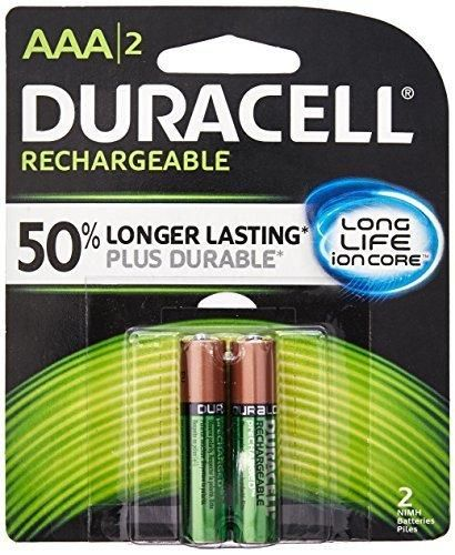 "Duracell 041333661582 Rechargeable Batteries AAA 8.45"" Height 5.25"" Length 6.4"" Width (Pack of 2)"