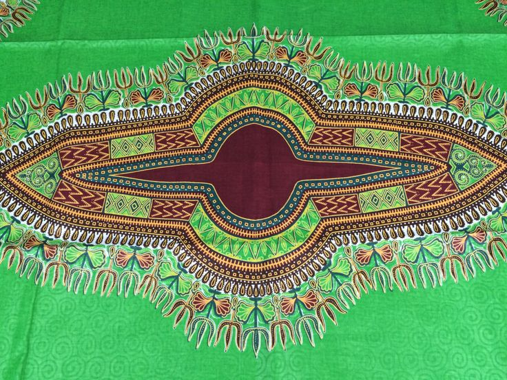 Kenyan Fabric--Dashiki Style Print--African Wax Print Fabric--Green and Maroon with Woven Swirls--Dashiki Fabric by the PANEL - pinned by pin4etsy.com