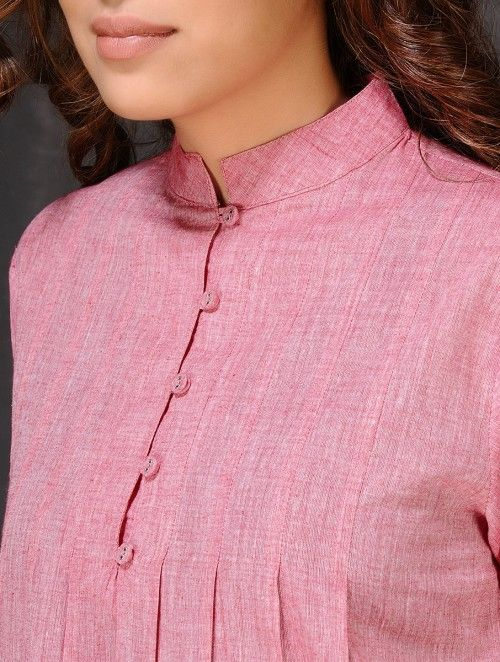 Pink Pleated Mangalgiri Cotton Kurta by Jaypore