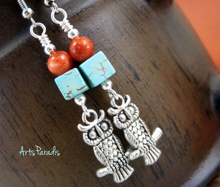 Owl Earrings Turquoise and Coral with Pewter Charm by ArtsParadis. #Owl #Earrings #Turquoise and #Coral with #Pewter #Charm by ArtsParadis. Don't these #owls remind you of the #70s #macrame owls everyone's #grandmother had? Wonderful #southwest #colors paired with cute little owls. #handmade #fashion #jewelry
