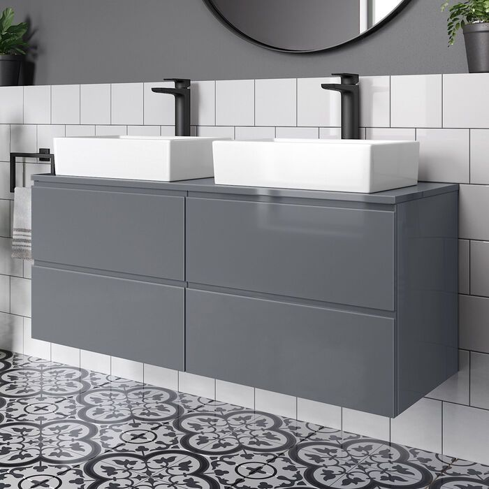 Grey Modern Double Bathroom Vanity Unit Countertop Sinks Soak Com In 2020 Double Vanity Bathroom Bathroom Vanity Units Vanity Units