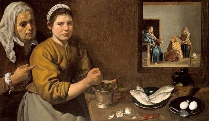 "Diego Velázquez (1599-1660). "" Kitchen Scene with Christ in the House of Martha and Mary"""