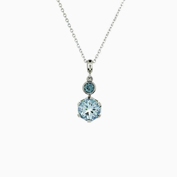Crown Necklace with Aquamarine and Tourmaline