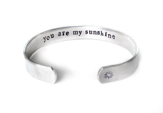 you are my sunshine jewelry, secret message cuff bracelet, best friend jewelry, gift for daughter, inspiration jewelry, handmade