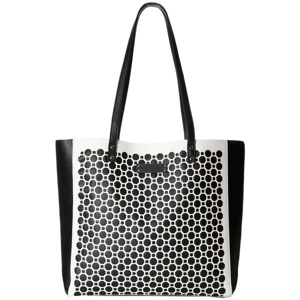 Vera Bradley Laser Cut Tote (MIdnight Geometric) Tote Handbags ($98) ❤ liked on Polyvore featuring bags, handbags, tote bags, white tote purse, vera bradley tote, vera bradley purses, vera bradley handbags and white tote bag