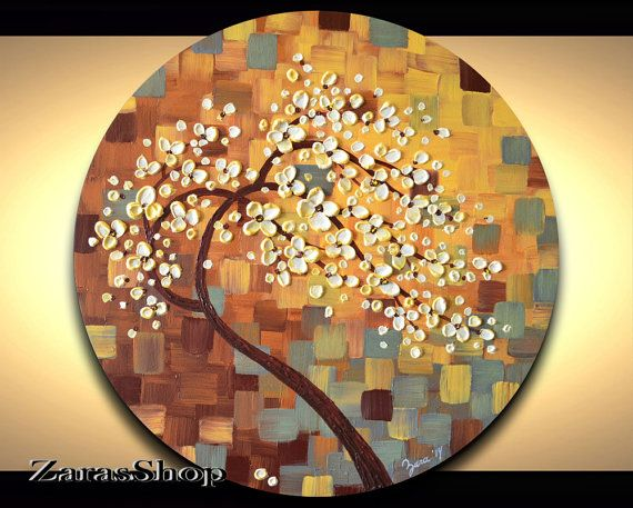 Circle canvas wall art impasto textured cherry blossom tree palette knife acrylic round abstract pastel painting ZarasShop shabby chic gift