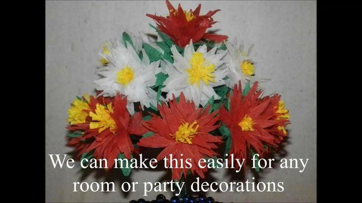 Flower vase with crepe paper chrysanthemum flowers - A very easy method!