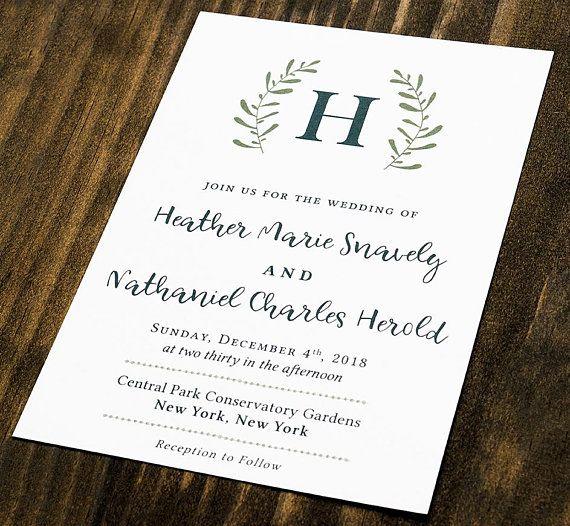 rustic greenery wreath monogram wedding invitation suite set green