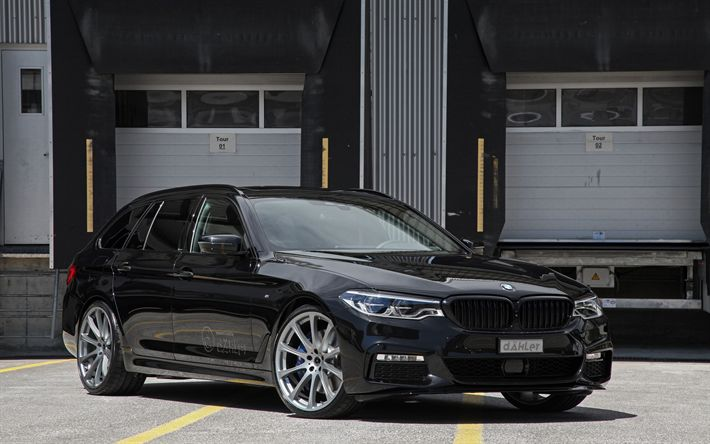 Download wallpapers BMW 5, G31, 2017, 5-Series, Wagon, black BMW 5, tuning, German cars, BMW