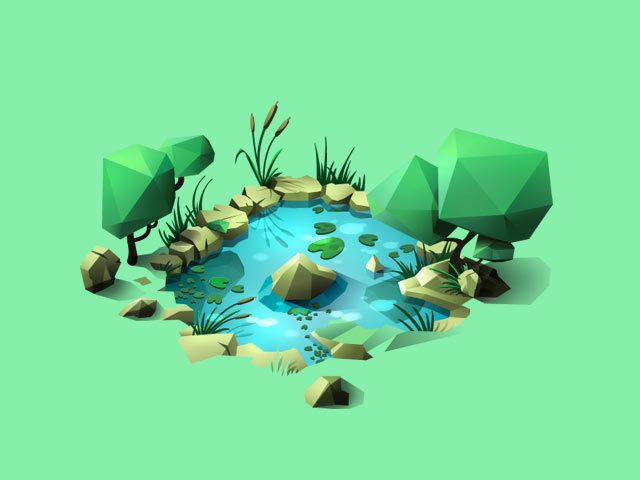 Low poly pond